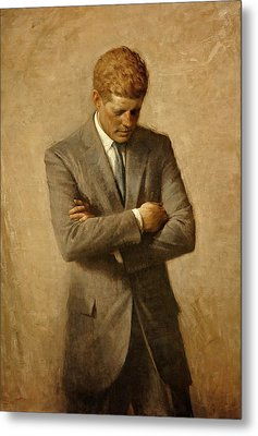 President John F. Kennedy Official Portrait By Aaron Shikler Metal Print by Movie Poster Prints