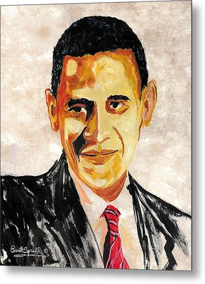 44th President Of The United States Of America - Barack Obama Metal Print by Everett Spruill