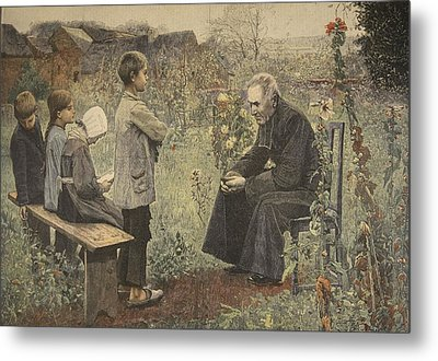 Priest Teaching Children The Catechism Metal Print by Jules-Alexis Meunier