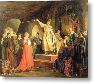 Prince Roman Of Halych-volhynia Receiving The Ambassadors Of Pope Innocent IIi, 1875 Oil On Canvas Metal Print by Nikolai Vasilievich Nevrev