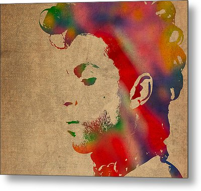 Prince Watercolor Portrait On Worn Distressed Canvas Metal Print by Design Turnpike