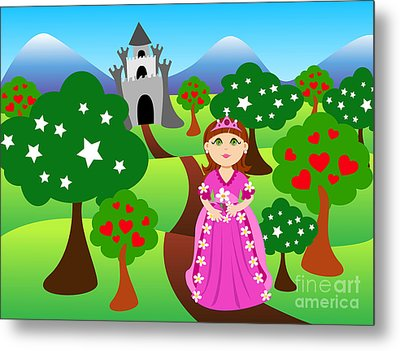 Princess And Castle Landscape Metal Print by Sylvie Bouchard