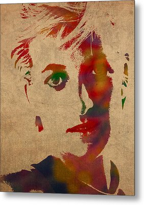 Princess Diana Watercolor Portrait On Worn Distressed Canvas Metal Print by Design Turnpike