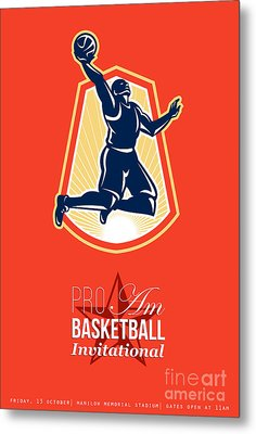 Pro Am Basketball Invitational Retro Poster Metal Print by Aloysius Patrimonio