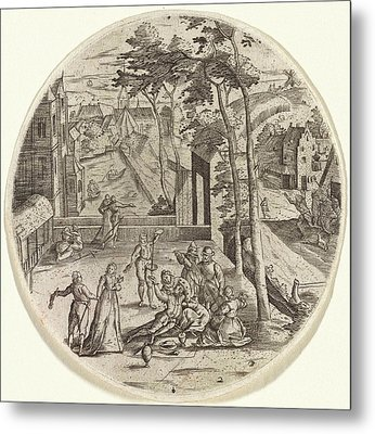 Prodigal Son Squanders His Money, Anonymous Metal Print by Anonymous