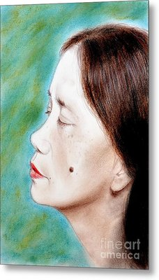 Profile Of A Filipina Beauty With A Mole On Her Cheek  Metal Print by Jim Fitzpatrick