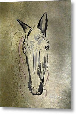 Profile Of A White Horse Metal Print by Angela A Stanton