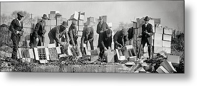 Prohibition Feds Destroy Liquor  1923 Metal Print by Daniel Hagerman
