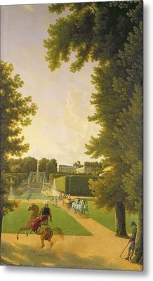 Promenade Of Napoleon I 1769-1821 And Marie-louise 1791-1847 In The Parc De Saint-cloud In 1810 Oil Metal Print by Jean Bidauld
