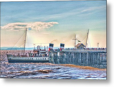 Ps Waverley At Penarth Pier Metal Print by Steve Purnell