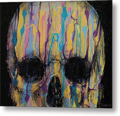 Psychedelic Skull Metal Print by Michael Creese
