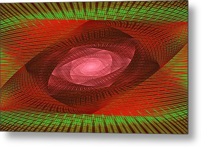 Psychedelic Spiral Vortex Green And Red Fractal Flame Metal Print by Keith Webber Jr