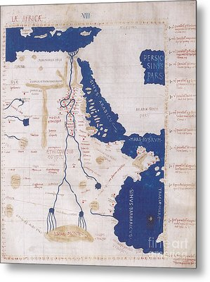 Ptolemys Map Of The Nile 2nd Century Metal Print by Photo Researchers