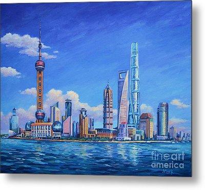 Pudong Skyline  Shanghai Metal Print by John Clark