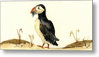Puffin With Fishes Metal Print by Juan  Bosco