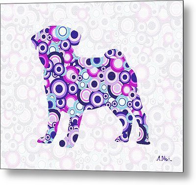 Pug - Animal Art Metal Print by Anastasiya Malakhova