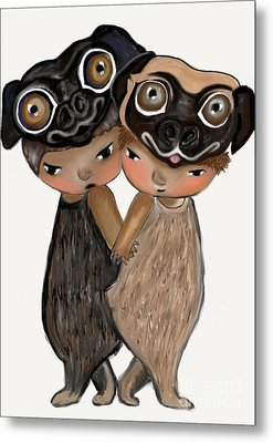 Pug Brothers Metal Print by Beatrice Ajayi