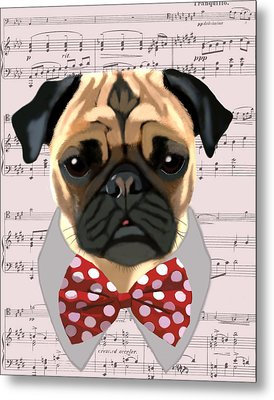 Pug With Bow Tie Metal Print by Kelly McLaughlan
