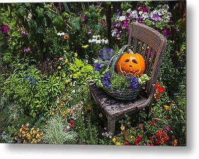 Pumpkin In Basket On Chair Metal Print by Garry Gay