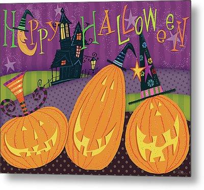 Pumpkins Night Out - Happy Halloween Metal Print by Pela Studio