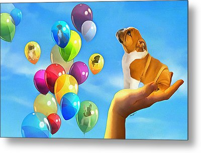Puppy Balloon-a-gram Metal Print by Anthony Caruso
