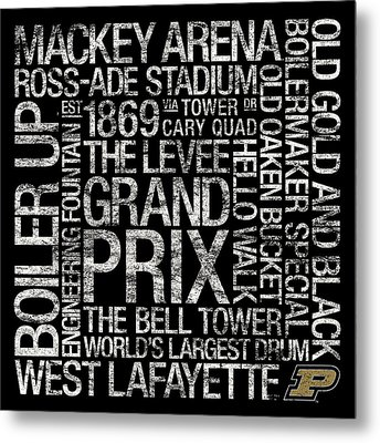 Purdue College Colors Subway Art Metal Print by Replay Photos