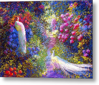 White Peacocks, Pure Bliss Metal Print by Jane Small