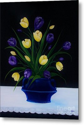 Purple And Yellow Tulips Metal Print by Peggy Miller