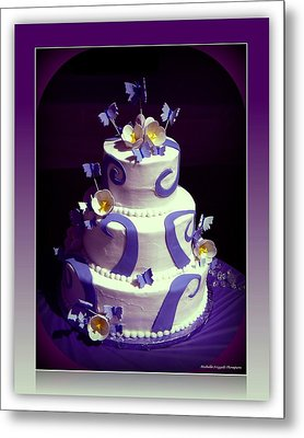 Purple Butterfly Wedding Cake Metal Print by Michelle Frizzell-Thompson