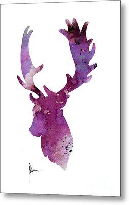 Purple Deer Head Silhouette Watercolor Artwork Metal Print by Joanna Szmerdt