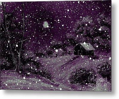 Purple Night Full Moon Metal Print by Barbara Griffin