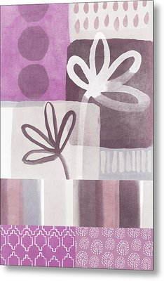 Purple Patchwork- Contemporary Art Metal Print by Linda Woods