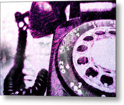 Purple Rotary Phone Metal Print by Jon Woodhams