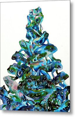 Pyramid Of Frogs And Toads Metal Print by Fabrizio Cassetta