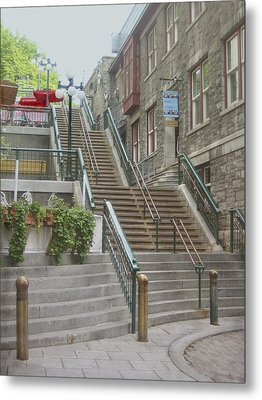 quaint  street scene  photograph THE BREAKNECK STAIRS of QUEBEC CITY   Metal Print by Ann Powell