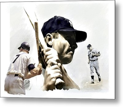 Quality Of Greatness Mickey Mantle Metal Print by Iconic Images Art Gallery David Pucciarelli