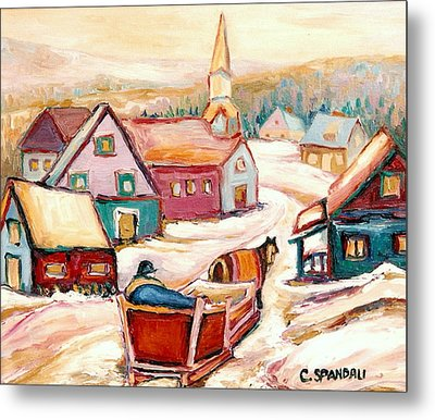 Quebec City Street Scene Caleche Ride In The Village Metal Print by Carole Spandau