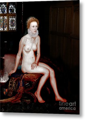 Queen Elizabeth I Seated Nude Metal Print by Karine Percheron-Daniels