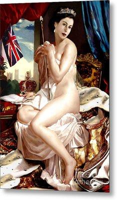 Queen Elizabeth II Nude Portrait Metal Print by Karine Percheron-Daniels