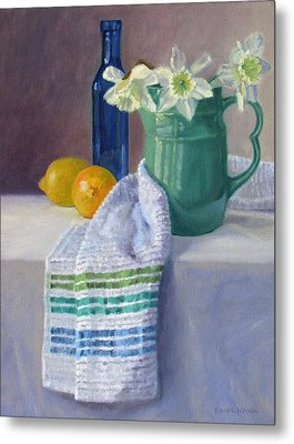 Quiet Moment- Daffodils In A Blue Green Pitcher With Lemons Metal Print by Bonnie Mason