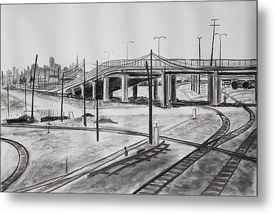 Quiet West Oakland Train Tracks With Overpass And San Francisco  Metal Print by Asha Carolyn Young
