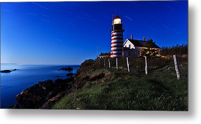 Quoddy Head By Moonlight Panorama Metal Print by Bill Caldwell -        ABeautifulSky Photography