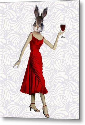Rabbit In A Red Dress Metal Print by Kelly McLaughlan