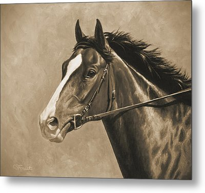 Racehorse Painting In Sepia Metal Print by Crista Forest