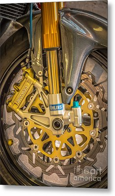 Racing Bike Wheel With Brembo Brakes And Ohlins Shock Absorbers Metal Print by Ian Monk
