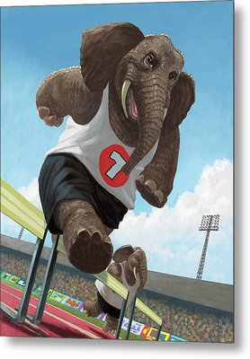 Racing Running Elephants In Athletic Stadium Metal Print by Martin Davey