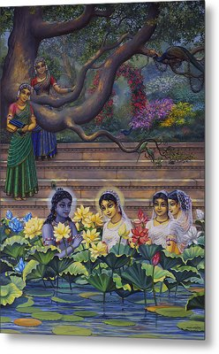 Radha And Krishna Water Pastime Metal Print by Vrindavan Das