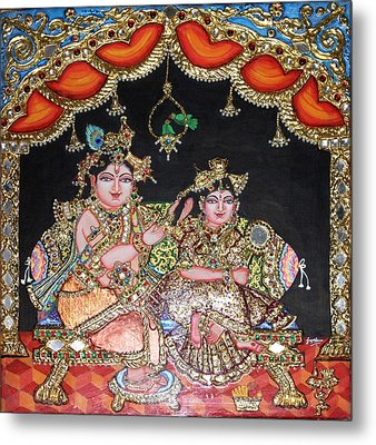 Radha Krishna Metal Print by Jayashree