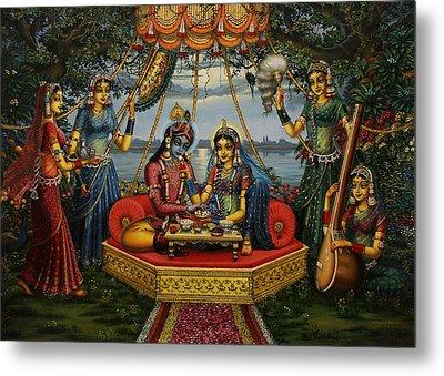 Radha Krishna Taking Meal   Metal Print by Vrindavan Das