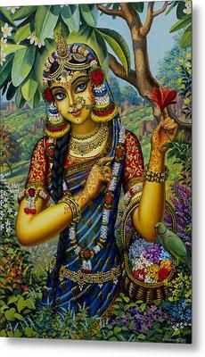 Radha On Govardhan Hill Metal Print by Vrindavan Das